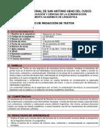 SILABO DE REDACCIÓN DE TEXTOS