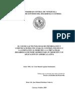 EL USO DE LAS TECNOLOGIAS DE INFORMACION Y COMUNICACIONES (TIC) PARA EL CONTROL POLITICO Y LA LIMITACION AL DERECHO A LA PRIVACIDAD