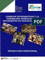 INTRUCCION MINISTERIAL COSEJOS ESATUDIANTILES Y FEVEEM