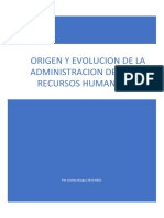 ORIGEN Y EVOLUCION DE LA ADMINISTRACION DE LOS RECURSOS HUMANOS