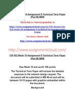 CIS 532 Week 10 Assignment 5 Technical Term Paper (Part B) NEW.docx