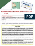 RESUMEN 5to DEL ÁREA DE COMUNICACIÓN DIA 17-07-2020