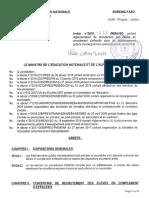 Arrêté n°2018-334 portant règlementation du recrutement des élèves en complément d'effectifs
