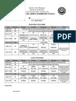 Sample Individual Class Program