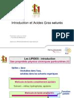 Introduction et Acides Gras saturés