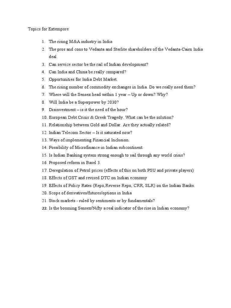 easy extempore topics