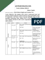 Sharif Model School for Girls Class 3 English Break Down 2020 PDF