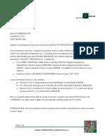 lettera di consegna documentazione ISOLA di tornitura G200
