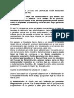 CAUSALES DESTITUCION DE ADMINISTRACION