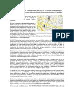 NOTA DE PRENSA Foro Social Mundial Tematico Venezuela