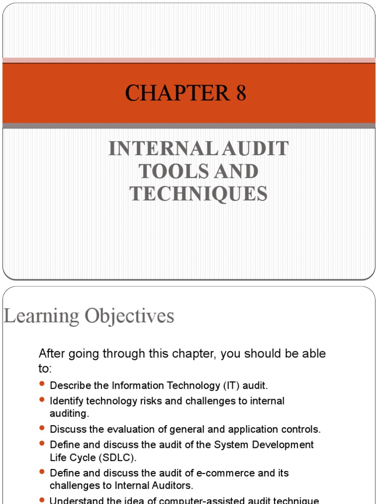Chapter 8 Internal Audit Tools And Techniques 2019 Information Security Audit