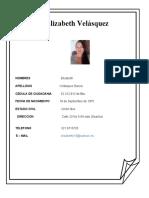 Hoja de Vida Elizabeth Velasquez