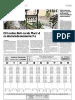 El frontón Beti-Jai de Madrid es declarado monumento (El Correo - 28/01/2011)