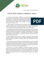 Comunicado REPAM de Cambio en La Presidencia.final