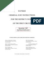 CA1 pattern criminal jury instructions - 1997 Nov.