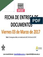 FECHA DE ENTREGA - I 2017