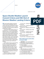 NASA Facts Space Shuttle Weather Launch Commit Criteria and KSC End of Mission Weather Landing Criteria 2010