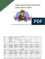 Modelo de Calendario litúrgico  2020.