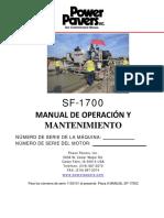 Operations & Maintenance Manual - SF-1700 (SP)