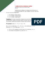 Propiedades de orden de los números reales