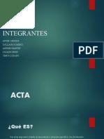 El Acta y tarjeta protocolaria
