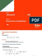 ÁLGEBRA SEMESTRAL UNI - ECUACIONES CUADRÁTICAS