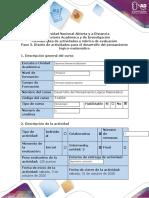 Guía de actividades y rúbrica de evaluación - Paso 3 - Diseño de actividades para el desarrollo del pensamiento lógico-matemático (D.P.L.M.).docx