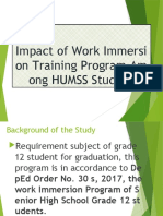 Impact of Work Immersion Training Program Among HUMSS (1)