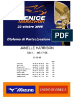 Venice Marathon 2005 Diploma JANELLE HARRISON