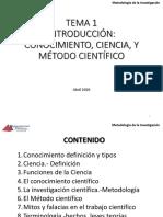 Tema 1_Ciencia_Investigación científica y Metodo