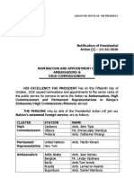 Notification of Presidential Action [I] – 15/10/2020