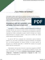 Arquitetura Web em camadas - Conceitos de camadas front-end e back-end