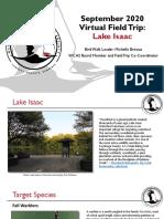 WCAS Virtual Field Trip to Lake Isaac September 2020