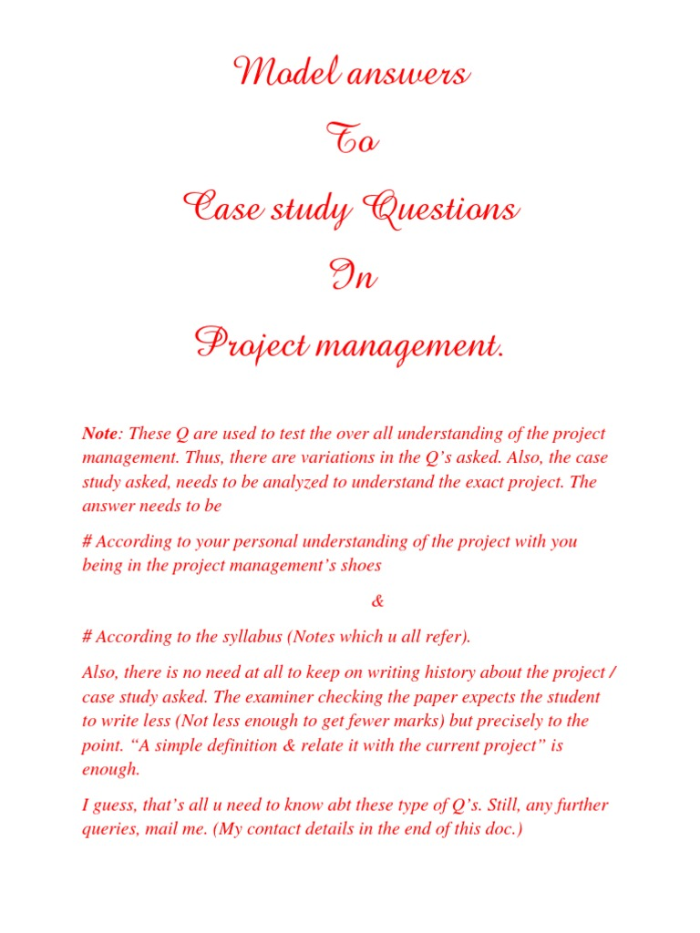 project management sample case study solved example