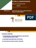 MODULE 3 - ETAT DES LIEUX DU  SECTEUR DE LA MICROFINANCE DANS LA ZONE UEMOA PDF