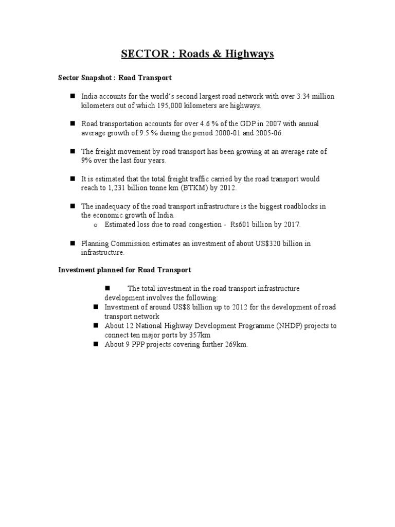 SECTOR: Roads & Highways: Sector Snapshot: Road Transport