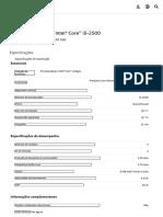 Processador Intel® Core™ i5-2500 (Cache de 6M, até 3,70 GHz) Product Specifications