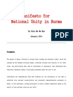 01feb11 Manifesto for National Unity engl. by Khin Ma Ma Myo