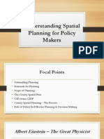 Understanding Spatial Planning for Policy Makers