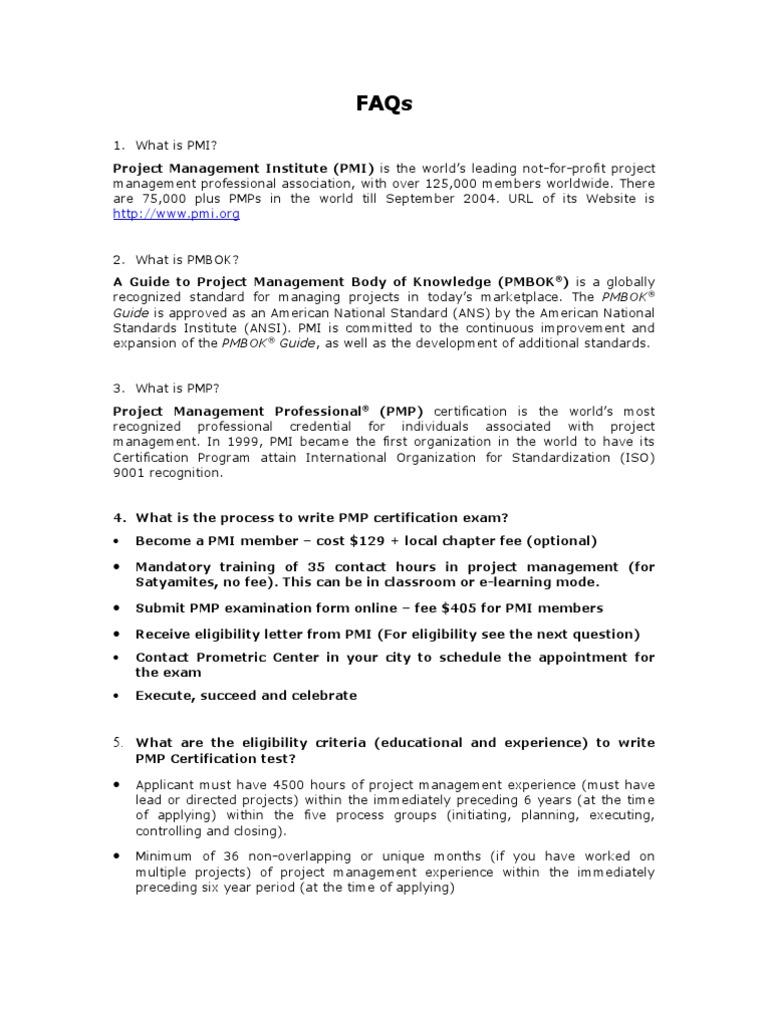 Faqs for pmp project management professional evaluation xflitez Choice Image