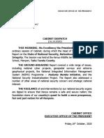 Cabinet Despatch 16-10-2020
