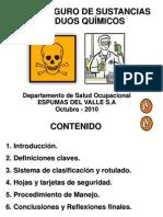 MANEJO SEGURO DE SUSTANCIAS Y RESIDUOS QUÍMICOS
