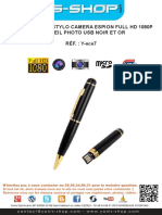 Mode d'emploi Stylo camera espion Full HD 1080p appareil photo USB Noir et Or