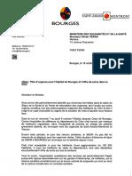 Courriers Plan d'Urgence Pour l'Hôpital de Bourges