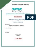 DETERMINACIÓN GRAVIMÉTRICA DE CALCIO EN LECHE- practica N°6
