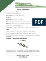 Guia # 1 Quimica grado 11° Alquinos y alcoholes. cuarto periodo. Con plantilla