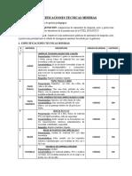ESPECIFICACIONES TECNICAS MINIMAS (1) (2)