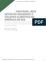 Fogo no Pantanal, rios secos no Paraguai e o colapso climático à vista
