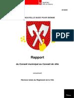 Règlement de la Ville de Bienne_rapport et nouveau texte