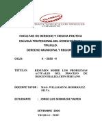 RESUMEN SOBRE LOS PROBLEMAS ACTUALES DEL PROCESO DE DECENTRALIZACIÒN PERUANO